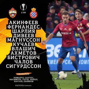 состав ЦСКА на Эспаньол