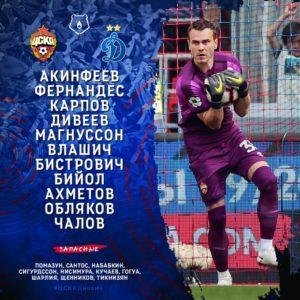 состав ЦСКА на игру с Динамо