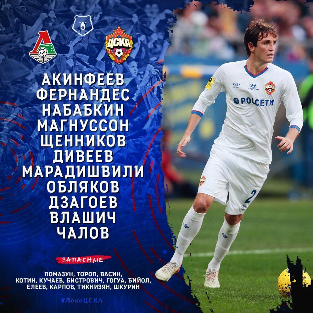 Состав ПФК ЦСКА на Локомотив