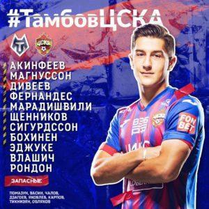 Состав ПФК ЦСКА на Тамбов